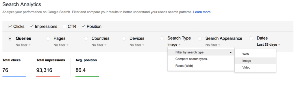 image search filter search console
